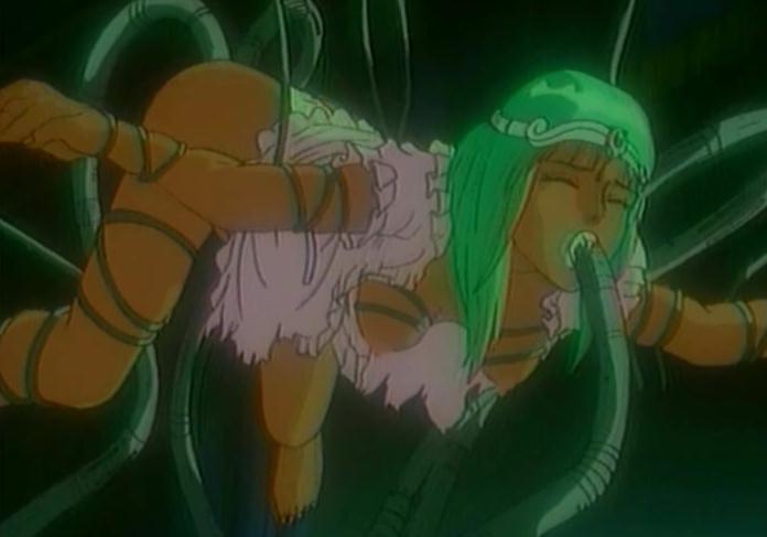 """Alector invadida por los tentáculos mecánicos de su padre. Imagen de """"Urotsukidoji 3: El retorno del Señor del Mal"""" (Hideki Takayama, 1993)."""